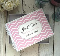 classic personalised wedding guest book chevron