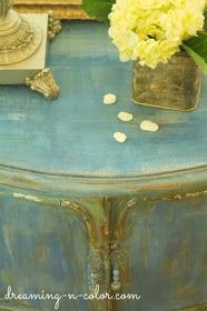 dreamingincolor: French Painted Patina Night Stand Chalk Paint Project