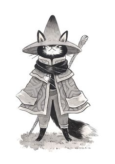 Set of prints of the ink pieces Wizard Cat, Mage Cat and Sorcerer Cat. Cat Character, Character Design References, Character Concept, Concept Art, Art And Illustration, Character Illustration, Fantasy Kunst, Fantasy Art, Furry Art