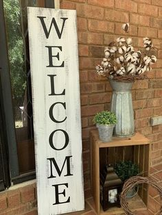 Front Door Decor Discover 4 Distressed White Welcome Porch Sign Vertical Porch Sign Farmhouse Porch Decor Vertical Porch Sign Farmhouse Sign Rustic Porch Decor Farmhouse Front Porches, Small Front Porches, Rustic Farmhouse, Farmhouse Outdoor Decor, Country Porches, Country Porch Decor, Rustic Porches, Summer Front Porches, Southern Porches