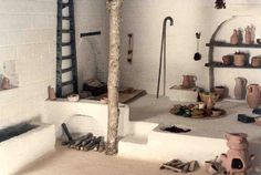 """Interior of House from Biblical era Israel by Walter Vaughn. Scale: 1"""" = 1'"""