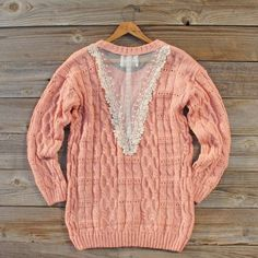 Winter Haven Lace Sweater, Sweet Bohemian Sweaters