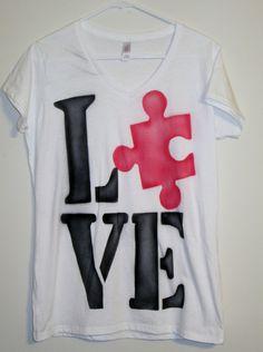 Autism Awareness Tee shirt - Puzzle piece,LOVE Tee