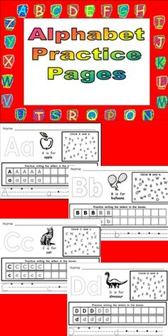Letter recognition and handwriting practice pages for all 26 letters of the alphabet :) $