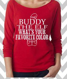 Buddy The Elf Funny Christmas Sweatshirt Ugly Christmas Sweater Oversized  3 4 Sleeve Sweatshirt Fun 903d72c74532