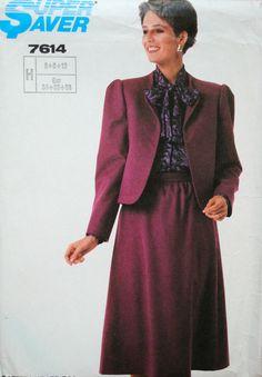 Uncut Vintage 1980s Misses Short Lined Funnel Neckline Lapel Jacket & Gathered Back Zipper Skirt Size 6 8 10 Sewing Pattern Simplicity 7614