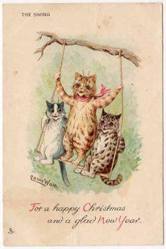 Louis Wain Art Postcard Three Christmas New Year Cats on A Tree Swing | eBay