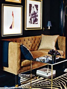 gorgeous camel colored sofa and gallery wall - maybe the wall would be cool in that camel color.