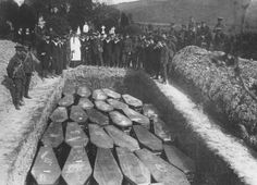 Coffins in a mass grave for some of those who died on the Lusitania.  Odd they weren't buried individually.