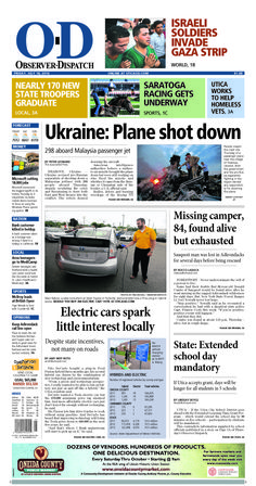 The front page for Friday, July 18, 2014: Ukraine: Plane shot down
