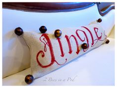 "Pottery Barn inspired ""Jingle"" pillow. A fun DIY hand painted Christmas project."