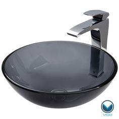 VIGO Sheer Black Glass Vessel Sink and Faucet Set in Chrome - Overstock™ Shopping - Big Discounts on Vigo Sink & Faucet Sets