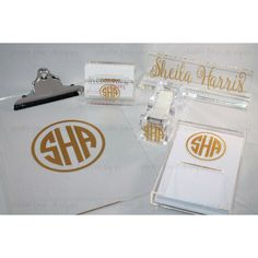 personalized/monogrammed Desk Accessories bundle/monogram Office... ($75) ❤ liked on Polyvore featuring home, home decor, office accessories, home & living, office, office & desk storage, silver, personalized clip boards, personalized office supplies and colored clipboards