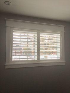 DIY Modern Craftsman window trim and Eclipse Shutters. Craftsman Window Trim, Interior Window Trim, Craftsman Bathroom, Modern Craftsman, Craftsman Style, Craftsman Interior, Interior Shutters, Basement Windows, Bathroom Windows
