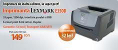 Astazi avem pentru voi imprimanta Laser Lexmark E350D la reducere! O imprimanta de calitate, la un super pret - doar 149 lei!