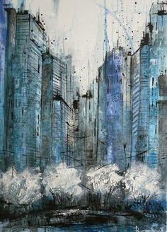 Into the City by Irina Rumyantseva Limited Editions Cityscape Art, Art Studies, Abstract Landscape, Urban Art, Art Day, Online Art, Art Gallery, Artwork, Painting
