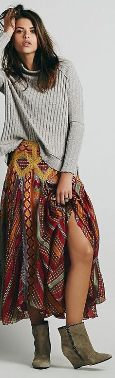 Free People This is such a sexy bohemian type look that fits for winter. Love it. Boots, skirt & top. ~MissOaks