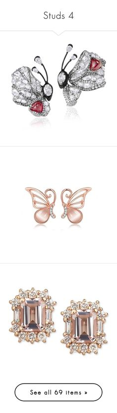 """Studs 4"" by thesassystewart on Polyvore featuring jewelry, red carpet jewelry, star jewelry, earrings, earring jewelry, 18 karat gold earrings, butterfly jewelry, rose gold plated earrings, swarovski crystal jewelry and accessories"