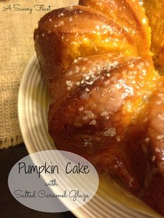 Pumpkin Cake with Salted Caramel Glaze! I can't even begin to tell you how good this cake is.