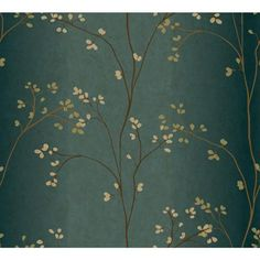 Inspired by Color Teal, Bronze Metallic and Powder Green Wallpaper