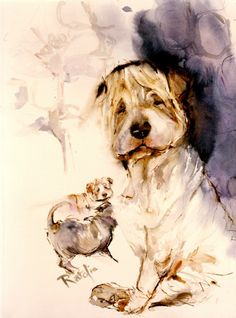 Chinese Shar pei- Sharpay- Chinese fighting dog watercolor dog prints SIGNED by the artist Carol Ratafia DOUBLE MATTED to 16x20. $44.60, via Etsy.