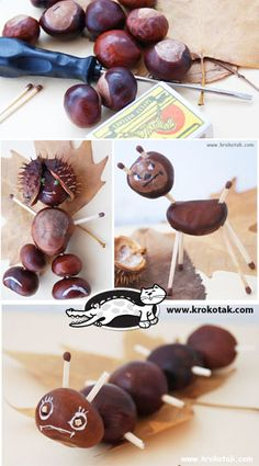 Merry animals from the chestnuts in the Park - Basteln - unique crafts Autumn Crafts, Nature Crafts, Autumn Activities, Activities For Kids, Conkers Craft, Diy For Kids, Crafts For Kids, Fall Diy, Natural Materials