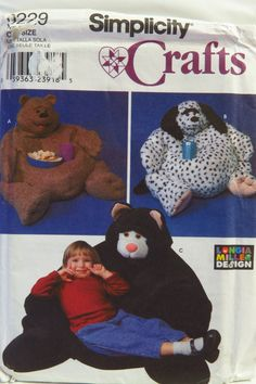Simplicity 9229 Child Size Animal Bean Bag Pillow Chairs