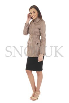 LADIES WOMEN'S DOUBLE BREASTED BELTED SUMMER MAC TRENCH FASHIONABLE COAT JACKET