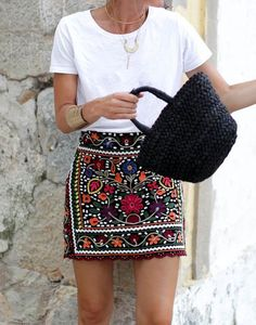 $28.70 Women Bohemia Floral Embroidery High Waist Slim Skirt
