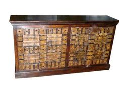 """Antique Buffet Chest Indian Doors Iron Straps Ochre Patina Sideboard 68""""x36""""x17"""" by Mogul Interior, http://www.amazon.com/dp/B00BWL0GIW/ref=cm_sw_r_pi_dp_Iwrsrb1XN80PF"""