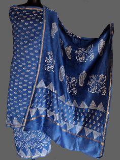 White Handblock printing on Indigo-Blue chanderi silk dress material. #indigo #indigodressmaterial #indigochanderi