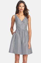Halogen® Chevron Stripe Fit & Flare Dress (Regular & Petite)