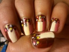 ice chocolate candy nail art manicure