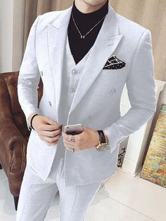 Mens Vested Double Breasted 3 Piece White Suits is part of White suits - Mens White Suit, White Suits, White Prom Suits For Men, Pinstripe Suit, Mens Fashion Suits, Mens Suits, Suit Men, Dress Suits For Men, Mode Costume