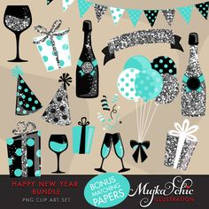 Happy New Year Clipart Silver Glitter & teal graphics. Gift boxes, balloons, banners, backgrounds, ribbon, confetti, digital papers by MUJKA on Etsy