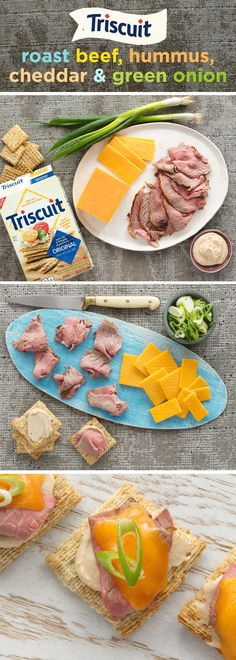 Bored with the same old deli snacks? Jazz up your roast beef with a little hummus, cheddar & green onion! Place TRISCUIT Crackers in a single layer on baking sheet and spread with white bean hummus. Next, layer deli style roast beef and cheese atop each cracker and bake for 3 min. at 350 ̊F or until cheese is melted. Sprinkle with chopped green onions to top it off - your taste buds will thank you! Want to spice it up? Try preparing with TRISCUIT Cracked Pepper & Olive Oil Crackers!