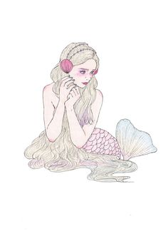 2015 works - maegamimami もっと見る Art And Illustration, Illustrations And Posters, Beauty Illustrations, Mermaids And Mermen, Female Art, Art Reference, Art Drawings, Character Design, Art Gallery
