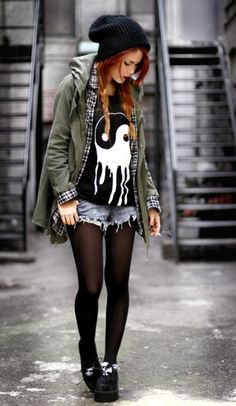 jacket punk rock punk rock black tights ska skater skater girl rock band indie rock army green jacket