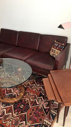 1970s Oxblood 3-Seat Sofa with Chrome Legs  —