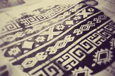 Serigrafia diseño mapuche