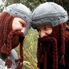 Ravelry: Dwarven Battle Bonnet pattern by Sally Pointer/ Wicked Woollens SOmeone knit these for me and my friends. Knitting Projects, Crochet Projects, Knitting Patterns, Yarn Projects, Knit Or Crochet, Crochet Hats, Beard Hat, Bonnet Pattern, Beanies