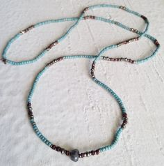 Image of #100371 - Simple Layering Necklace - Aqua Sees Beads with Labradorite & Pyrite Gemstones