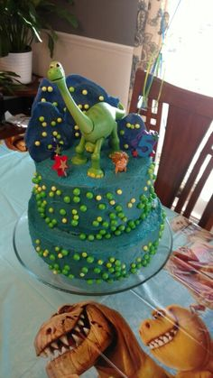 The Good Dinosaur Birthday Cake Dinosaur Birthday Cakes, 4th Birthday Cakes, Dinosaur Cake, Dinosaur Party, 3rd Birthday Parties, Boy Birthday, Birthday Ideas, Cupcakes, Cupcake Cakes