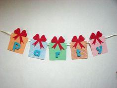 Banner nume realizat manual din carton colorat in forma de cadouri  <span style= Boutique, Party, Parties, Boutiques