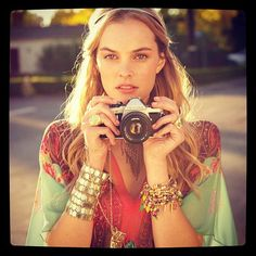Love this girl's outfit, accessories, and camera of course.