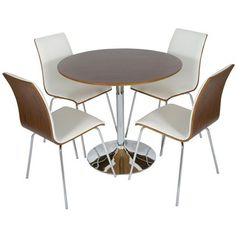 LEVV Round 4 Seater Dining Table Set, Chrome & Walnut With White Padding FREE DELIVERY Levv http://www.amazon.co.uk/dp/B00GR2N43U/ref=cm_sw_r_pi_dp_Q8tqvb1Y74EP8