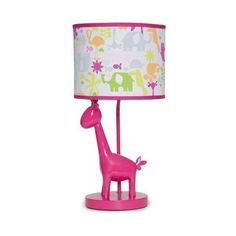 Safari Brights Hot Pink Giraffe Girls Lamp w Colorful Jungle Animals by Carters Giraffe Lamp, Pink Giraffe, Childrens Lamps, Bright Nursery, Kids Lamps, Energy Efficient Lighting, Room Lamp, Little Girl Rooms, Mirror With Lights