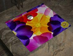 Showart shower tray Linea Texture - flower pattern