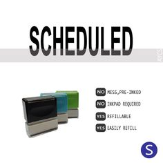 SCHEDULED, Pre-Inked Office Stamp, 761914-A