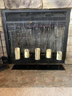 Review photo 1 Stone Fireplace Surround, Candles In Fireplace, Fake Fireplace, Large Candles, White Candles, Mailbox Monogram, Lighted Branches, Flameless Candles, Candlesticks